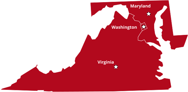 Map of Virginia, Washington and Maryland